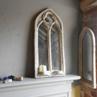 Stunning double light gothic sconce mirror church arch window