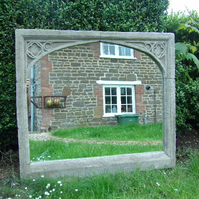 Beautiful large gothic single arch  vintage garden overmantel mirror