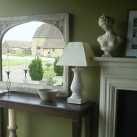 Huge beautiful stone gothic overmantel mirror interior