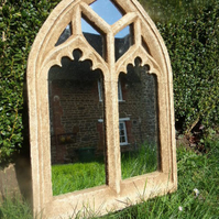 Stunning traceried double light perpendicular gothic arch church garden mirror