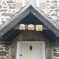 Set of three wonderful grotesques gothic hanging plaques interior or exterior