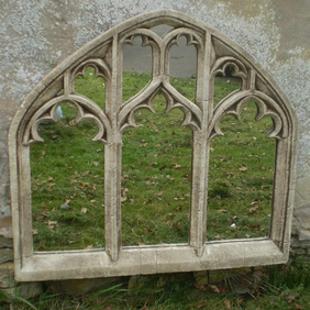Lovely large traciered vintage garden gothic window arch mirror
