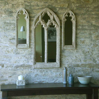 Fabulous set of three gothic arch vintage mirrors