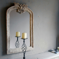Lovely large baroque vintage detailed stone mirror