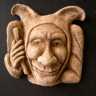 Lovely cheerful jester plaque grotesque garden or interior wall hanging