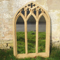 Beautiful large triple light window gothic garden mirror