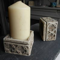 A pair of beautiful gothic candle church block holders