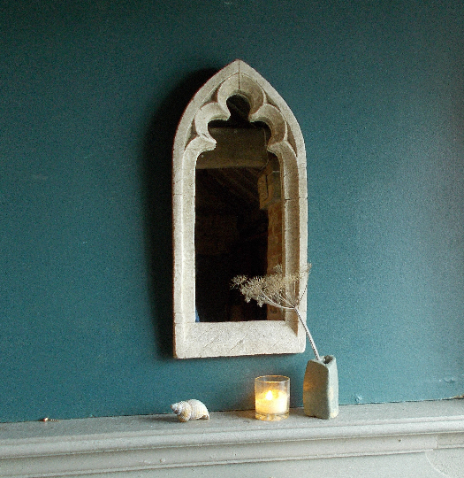Fabulous single light trefoil gothic mirror