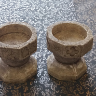 Unusual pair of gothic church font rustic  candle holders