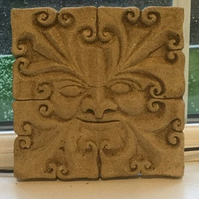 Lovely wall hanging green man garden stone plaque