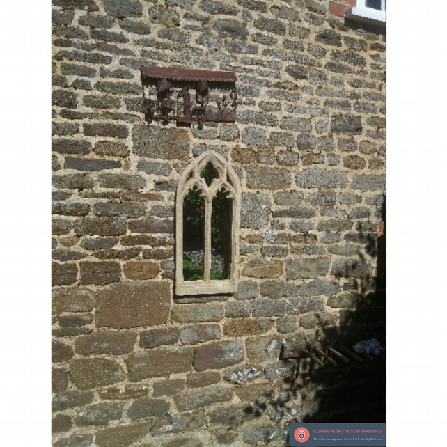 Fabulous stone trefoil double light garden gothic mirror