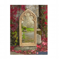 SINGLE LIGHT GOTHIC ARCHED TREFOIL GARDEN MIRROR