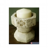 Fabulous gothic church font stone vintage candle holder