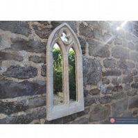 Beautiful small double light gothic garden mirror