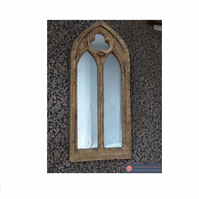 DOUBLE ARCH GOTHIC CHURCH WINDOW FRAME MIRROR VINTAGE STYLE STONE EFFECT
