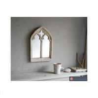 SMALL STONE EFFECT GOTHIC DOUBLE ARCHED WINDOW MIRROR VINTAGE STYLE