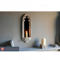 Pretty vintage style gothic church sconce mirror