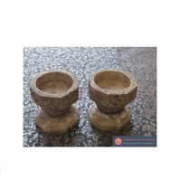Wonderful pair of church font stone candle holders