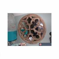 Vintage Huge and stunning stone gothic rose church window mirror