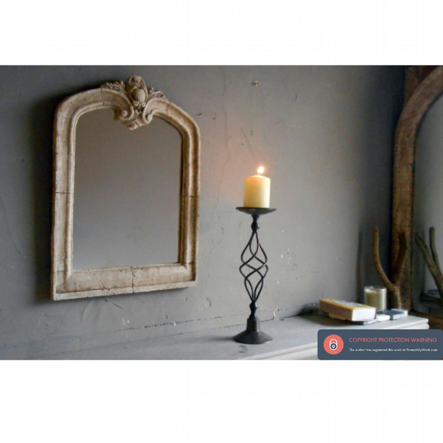 Very pretty vintage small baroque stone mirror