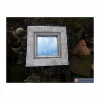 Pretty square stone effect mirror