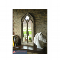 Stunning large double light gothic mirror church window