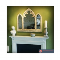Incredible large triple light overmantel gothic mirror