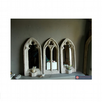 Lovely set of three stone effect  vintage gothic mirrors