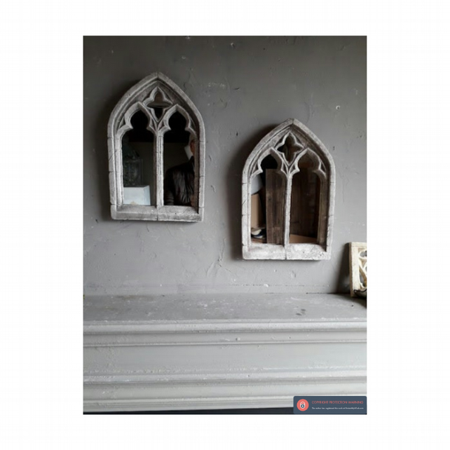 A LOVELY PAIR OF SMALL DOUBLE LIGHT GOTHIC MIRRORS