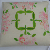 Wild Rose repeat pattern cushion