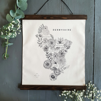 Derbyshire Map Wall Hanging