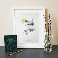 Wren Print, Wren Art, Wren Print, A4 Wren Print, British Wildlife Drawing