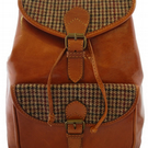 Tan Leather and Yorkshire Tweed Rucksack backpack- Red and Brown dogtooth check