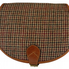 Tan Leather and Yorkshire tweed Saddle Handbag - Red and Brown dogtooth check