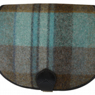 Black Leather and Yorkshire Tweed Saddle Handbag - Blue and green large check
