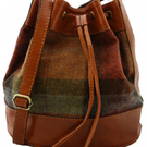 Tan Leather and Tweed Drawstring Duffle Bag - Rust and green large check