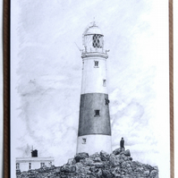 Artistic Greeting Card of Portland Bill Lighthouse, in Dorset, England