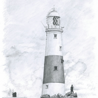 Original Pencil Picture of Portland Bill Lighthouse in Dorset, England