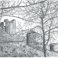 Original Pencil Picture of a different view of Corfe Castle, in Dorset