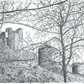 Original Drawing of Corfe Castle Through the Trees