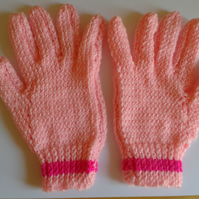 Hand knitted children's gloves