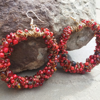 Cherry red hoops earrings