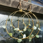 Gold hoops earring with Prehnite stones