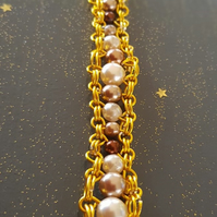 gold chain mail pearl bracelet