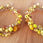 Yellow Bead Hoop Earrings