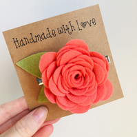Large felt rose hair clip