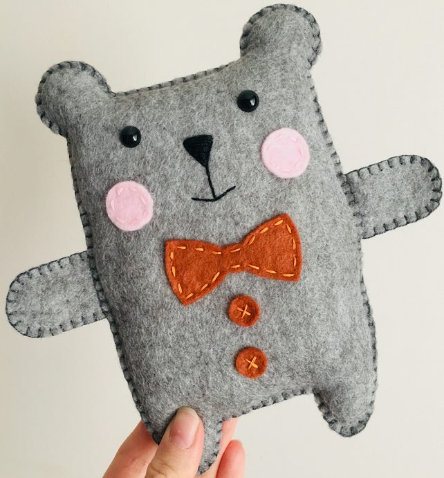 Grey felt teddy bear