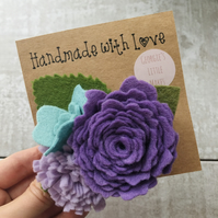 Purple and turquoise felt flower hair clip