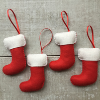 Set of 4 Christmas stocking tree decorations