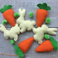 Easter bunny rabbit and carrot felt garland